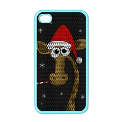 Christmas Giraffe  Apple Iphone 4 Case (color)