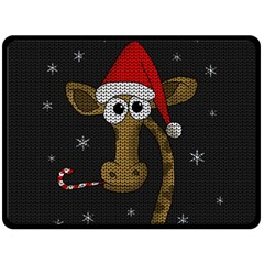 Christmas Giraffe  Double Sided Fleece Blanket (large)