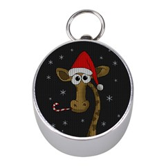 Christmas Giraffe  Mini Silver Compasses