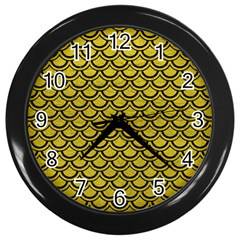 Scales2 Black Marble & Yellow Leather Wall Clocks (black)