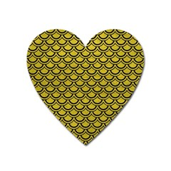 Scales2 Black Marble & Yellow Leather Heart Magnet