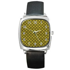 Scales2 Black Marble & Yellow Leather Square Metal Watch