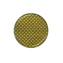 Scales2 Black Marble & Yellow Leather Hat Clip Ball Marker (4 Pack)