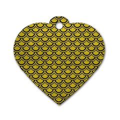 Scales2 Black Marble & Yellow Leather Dog Tag Heart (two Sides)