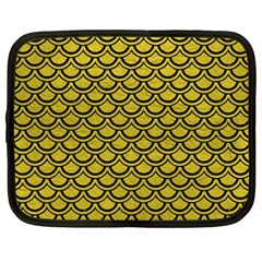 Scales2 Black Marble & Yellow Leather Netbook Case (large)