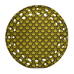 Scales2 Black Marble & Yellow Leather Round Filigree Ornament (two Sides)