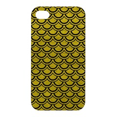 Scales2 Black Marble & Yellow Leather Apple Iphone 4/4s Hardshell Case