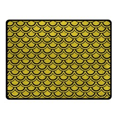 Scales2 Black Marble & Yellow Leather Double Sided Fleece Blanket (small)