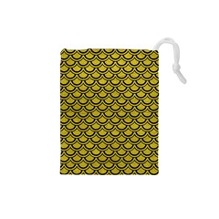 Scales2 Black Marble & Yellow Leather Drawstring Pouches (small)