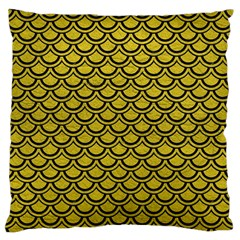 Scales2 Black Marble & Yellow Leather Large Flano Cushion Case (one Side)