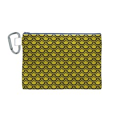 Scales2 Black Marble & Yellow Leather Canvas Cosmetic Bag (m)