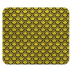 Scales2 Black Marble & Yellow Leather Double Sided Flano Blanket (small)