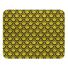 Scales2 Black Marble & Yellow Leather Double Sided Flano Blanket (large)