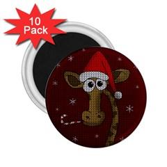 Christmas Giraffe  2 25  Magnets (10 Pack)