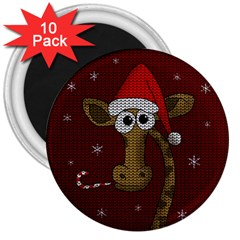 Christmas Giraffe  3  Magnets (10 Pack)