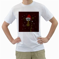 Christmas Giraffe  Men s T Shirt (white) (two Sided)