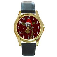 Christmas Giraffe  Round Gold Metal Watch