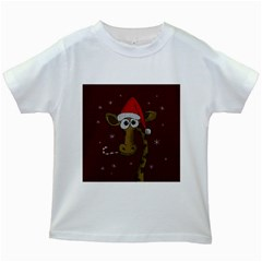 Christmas Giraffe  Kids White T Shirts