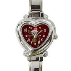 Christmas Giraffe  Heart Italian Charm Watch