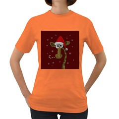 Christmas Giraffe  Women s Dark T Shirt
