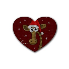 Christmas Giraffe  Heart Coaster (4 Pack)