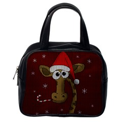 Christmas Giraffe  Classic Handbags (one Side)