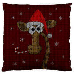 Christmas Giraffe  Large Cushion Case (one Side)
