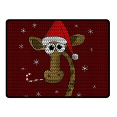 Christmas Giraffe  Double Sided Fleece Blanket (small)