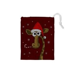 Christmas Giraffe  Drawstring Pouches (small)