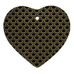 Scales2 Black Marble & Yellow Leather (r) Ornament (heart)