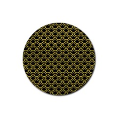 Scales2 Black Marble & Yellow Leather (r) Rubber Round Coaster (4 Pack)