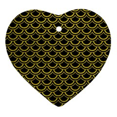 Scales2 Black Marble & Yellow Leather (r) Heart Ornament (two Sides)