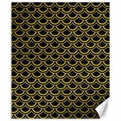 Scales2 Black Marble & Yellow Leather (r) Canvas 8  X 10