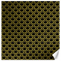 Scales2 Black Marble & Yellow Leather (r) Canvas 20  X 20