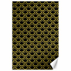 Scales2 Black Marble & Yellow Leather (r) Canvas 20  X 30