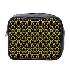 Scales2 Black Marble & Yellow Leather (r) Mini Toiletries Bag 2 Side