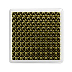 Scales2 Black Marble & Yellow Leather (r) Memory Card Reader (square)