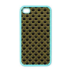 Scales2 Black Marble & Yellow Leather (r) Apple Iphone 4 Case (color)