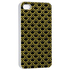 Scales2 Black Marble & Yellow Leather (r) Apple Iphone 4/4s Seamless Case (white)
