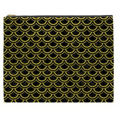 Scales2 Black Marble & Yellow Leather (r) Cosmetic Bag (xxxl)