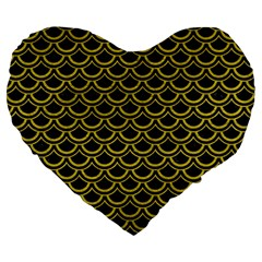 Scales2 Black Marble & Yellow Leather (r) Large 19  Premium Heart Shape Cushions