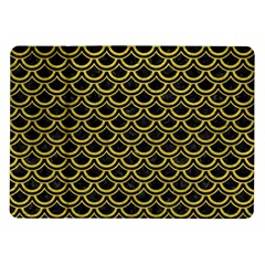Scales2 Black Marble & Yellow Leather (r) Samsung Galaxy Tab 10 1  P7500 Flip Case