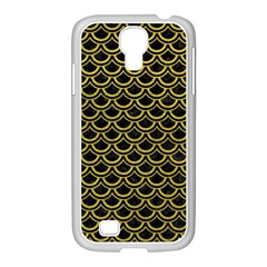 Scales2 Black Marble & Yellow Leather (r) Samsung Galaxy S4 I9500/ I9505 Case (white)