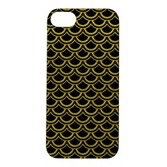 Scales2 Black Marble & Yellow Leather (r) Apple Iphone 5s/ Se Hardshell Case