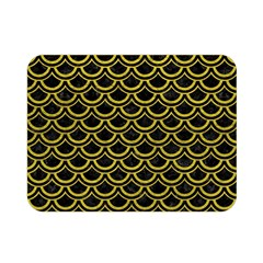 Scales2 Black Marble & Yellow Leather (r) Double Sided Flano Blanket (mini)