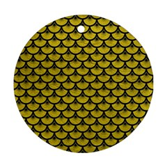 Scales3 Black Marble & Yellow Leather Ornament (round)