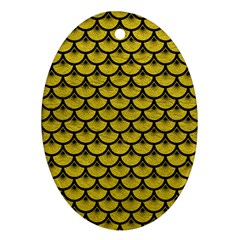 Scales3 Black Marble & Yellow Leather Ornament (oval)