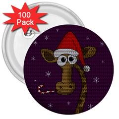 Christmas Giraffe  3  Buttons (100 Pack)