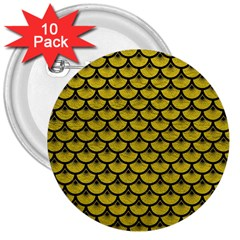 Scales3 Black Marble & Yellow Leather 3  Buttons (10 Pack)