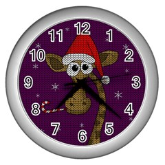 Christmas Giraffe  Wall Clocks (silver)